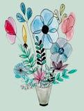 Watercolor floral bouquet vector illustration