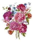 Watercolor Floral Bouquet with Burgundy Peonies in Royalty Free Stock Photos