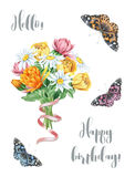 Watercolor floral bouquet with butterflies Stock Images