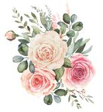 Watercolor floral bouquet with roses and eucalyptus stock illustration