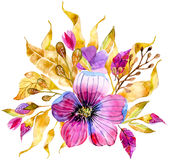 Watercolor floral bouquet Stock Image