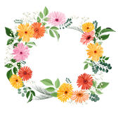 Watercolor floral bouquet with gerberas and leaves Stock Photo