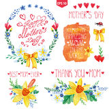 Watercolor floral bouquet,headlines set.Mother day decor. Mothers day card.Watercolor floral bouquet,stein  with branches and leaves,butterfly .Greeting card Royalty Free Stock Photography