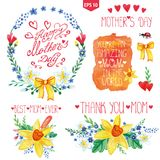 Watercolor floral bouquet,headlines set.Mother day. Mothers day card.Watercolor floral bouquet,stein and branches,leaves,butterfly .Greeting card ,invitation Stock Photos
