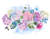 Watercolor Floral bouquet with Hydrangea Stock Photo