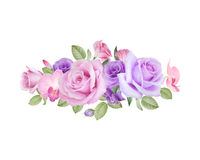 Watercolor floral bouquet of roses, lisianthus and orchids Stock Photos
