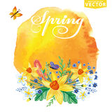 Watercolor floral bouquet,stein.Spring card. Watercolor floral bouquet, blur stein, branches, leaves, butterfly . Greeting card  invitation. Narcissus flowers Stock Photo
