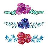 Watercolor floral bouquets Stock Photo