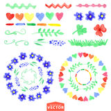 Watercolor floral brushes set.Baby style Stock Photo