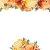 Watercolor floral card with chrysanthemum Royalty Free Stock Images