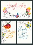 Watercolor floral card collection Stock Image