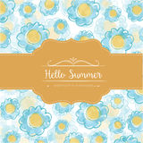 Watercolor floral  card  with message Hello Summer Stock Images