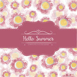 Watercolor floral  card  with message Hello Summer Stock Photos