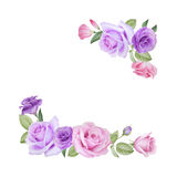 Watercolor floral card with roses and lisianthus Stock Photography