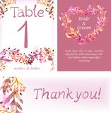Watercolor floral card set, colorful natural illustration Royalty Free Stock Image