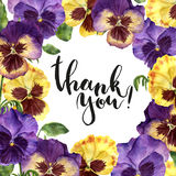 Watercolor floral card with Thank you lettering. Hand painted illustration with pansy flowers, leaves and branches. Isolated on white background. For design Stock Images