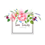 Watercolor floral card Royalty Free Stock Photo