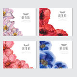 Watercolor floral cards set Royalty Free Stock Images