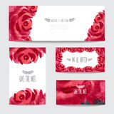 Watercolor floral cards set Stock Photo