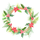 Watercolor floral christmas wreath Stock Photo