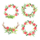 Watercolor floral christmas wreathes Royalty Free Stock Photos