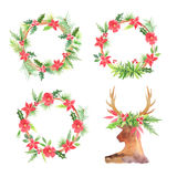 Watercolor floral christmas wreathes Stock Photo