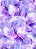 Watercolor Floral Collage Flower Composition Nature Lily Flowers Bright Purple Background Stock Image