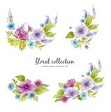 Watercolor floral collection with flower arrangements of flowers, leaves, branches and flower buds. Royalty Free Stock Photography