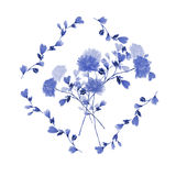 Watercolor floral decoration. Bouquet of blue flowers in frame of blue branches on the white background Royalty Free Stock Photography