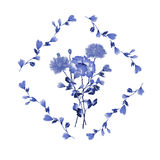 Watercolor floral decoration. Bouquet of blue rose in frame of blue branches on a white background royalty free stock photos
