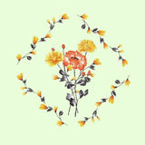 Watercolor floral decoration. Bouquet of yellow and red rose in frame of yellow branches on a light green background Royalty Free Stock Images
