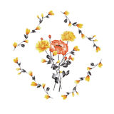 Watercolor floral decoration. Bouquet of yellow and red rose in frame of yellow branches on a white background stock photography