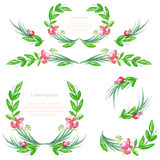 Watercolor floral design elements with leaves and berries. Brushes, borders, wreath,garland. Vector Royalty Free Stock Image