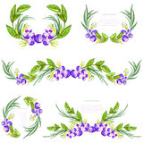 Watercolor floral design elements with leavesand blueberries. Brushes, borders, wreath,garland. Vector Royalty Free Stock Photography