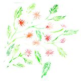 Watercolor floral drawing. Abstract red flowers pattern.