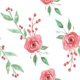 Watercolor Floral Flowers Holidays Christmas Green Red Berries Seamless Pattern. Hand Painted Watercolor Leaves and flowers in in red and green seamless patterns Royalty Free Stock Photos