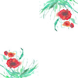 Watercolor floral frame. Stock Photography