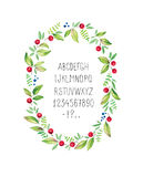 Watercolor floral frame with alphabet. Vector Royalty Free Stock Photography