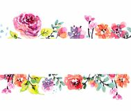 Watercolor floral frame vector illustration