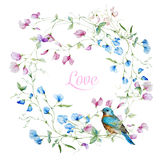Watercolor floral frame Royalty Free Stock Images