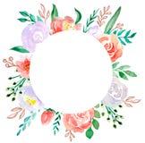 Watercolor floral frame  border - flower illustration for wedding, anniversary, birthday, invitations, romantic events. stock illustration