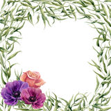 Watercolor floral frame card. Hand painted floral border with branches, leaves and flowers isolated on white background. For desig Royalty Free Stock Image