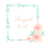 Watercolor floral frame. Colorful floral hand drawing frame on white background Stock Photography