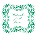 Watercolor floral frame. Colorful floral hand drawing frame on white background Stock Image