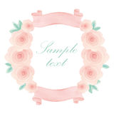 Watercolor floral frame. Colorful floral hand drawing frame on white background Royalty Free Stock Photos