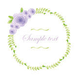 Watercolor floral frame. Colorful floral hand drawing frame on white background Royalty Free Stock Images