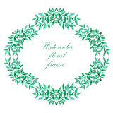 Watercolor floral frame. Colorful floral hand drawing frame on white background Stock Photo