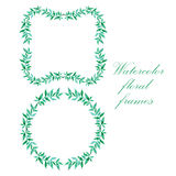 Watercolor floral frame. Colorful floral hand drawing frame on white background Stock Photos