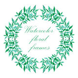 Watercolor floral frame. Colorful floral hand drawing frame on white background Stock Images