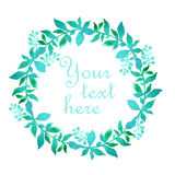 Watercolor floral frame. Colorful floral hand drawing frame on white background Royalty Free Stock Image